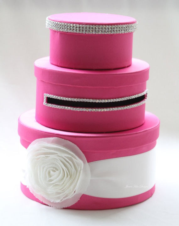 hot pink wedding card box // by jamie kim designs