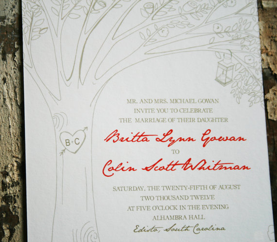 tree wedding invitation