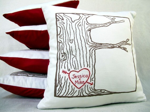 tree carved wedding ring pillow
