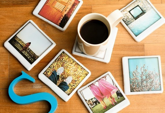 polaroid wedding ideas - polaroid photo coaster favors