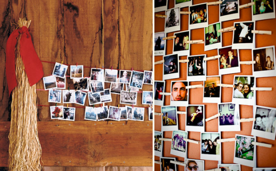 polaroid wedding ideas - polaroid photo display