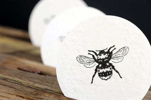 honey themed wedding coasters