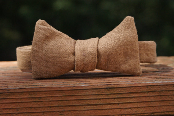 burlap wedding bowtie