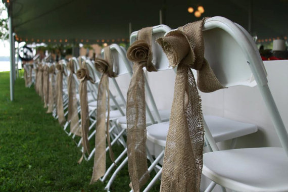 burlap rosette chair sashes