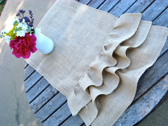 ruffle burlap table runner