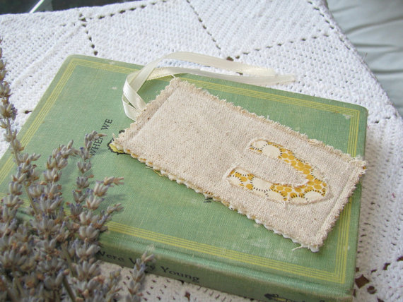 burlap bookmark favor