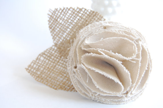 burlap wedding flower corsage
