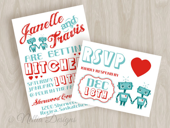 robot themed wedding invitations