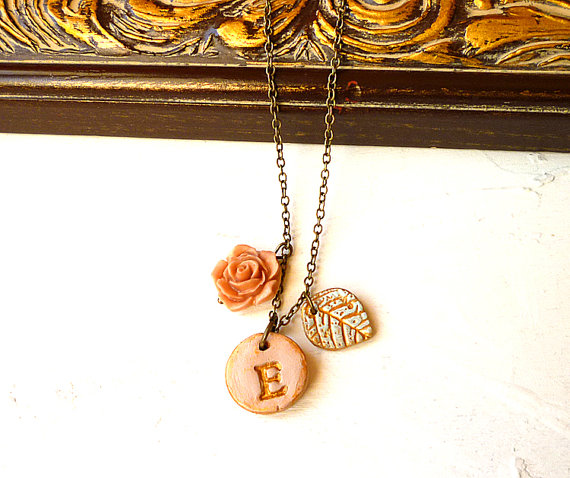 clay initial necklaces
