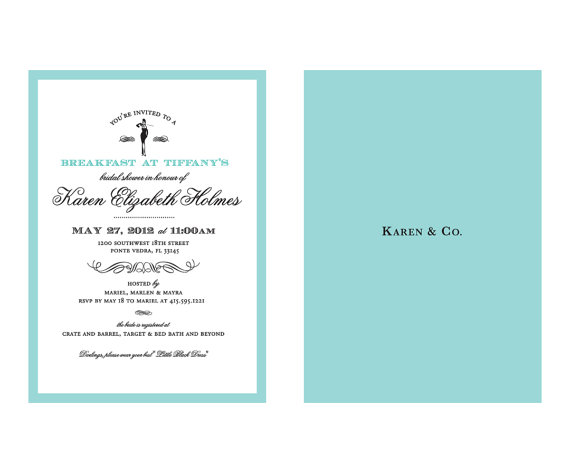 breakfast at tiffanys bridal shower invitation