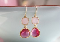 bridesmaid earrings - hot pink