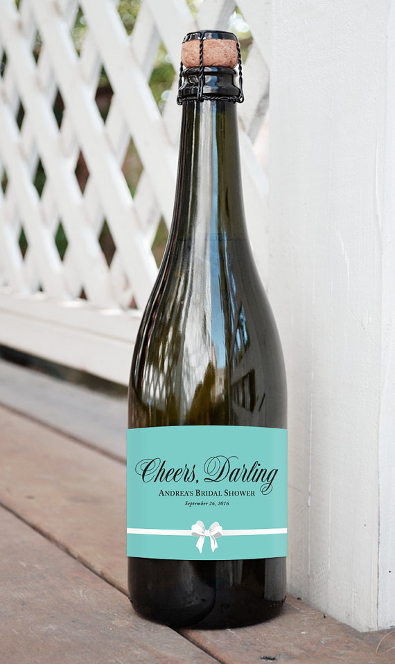 champagne label for breakfast at tiffanys bridal shower