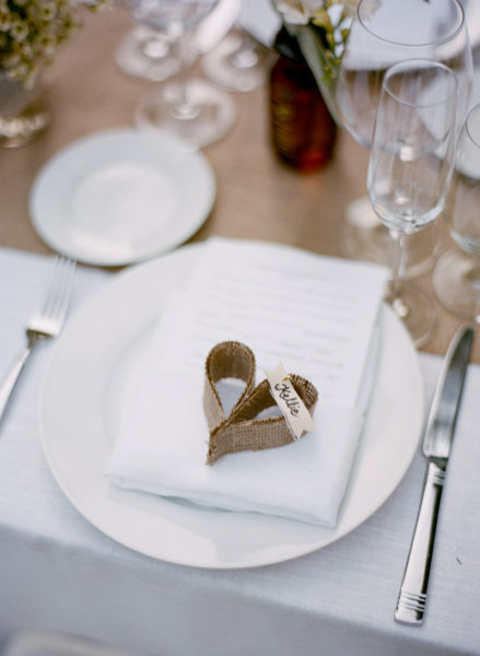 When we spotted this adorable heartshaped diy burlap placecard via Style Me