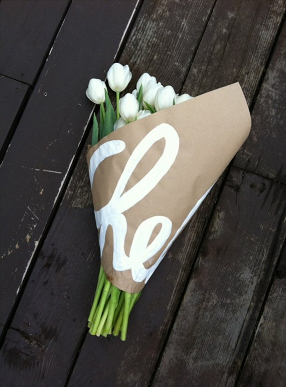 bouquet wrapped in kraft paper