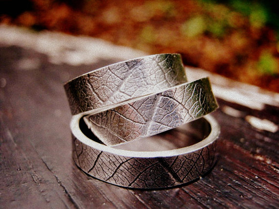 leaf wedding rings