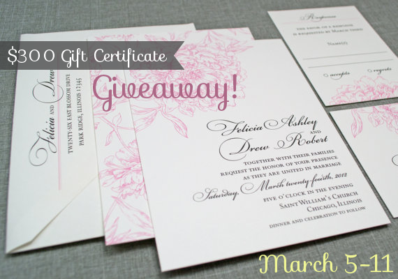 Wedding Gifts For USD300 : 300 Gift Certificate Giveaway!