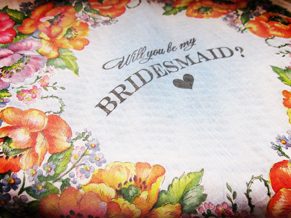 will you be my bridesmaid handkerchief