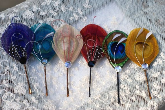 feather hair pins many colors