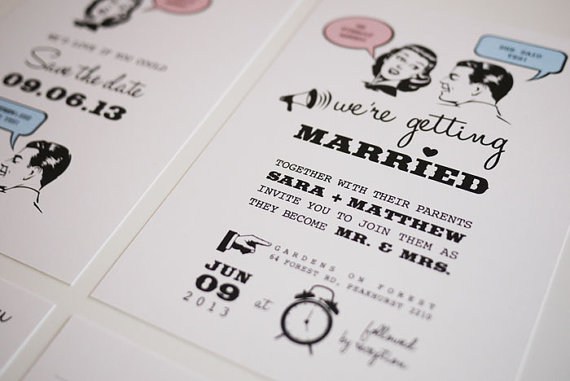 retro wedding invitations