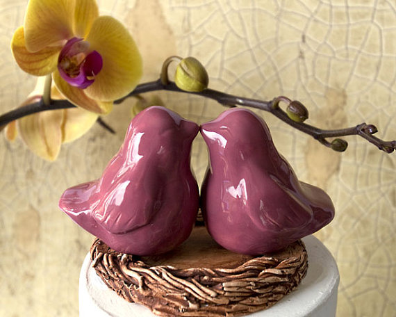 wedding cake topper - pink love birds