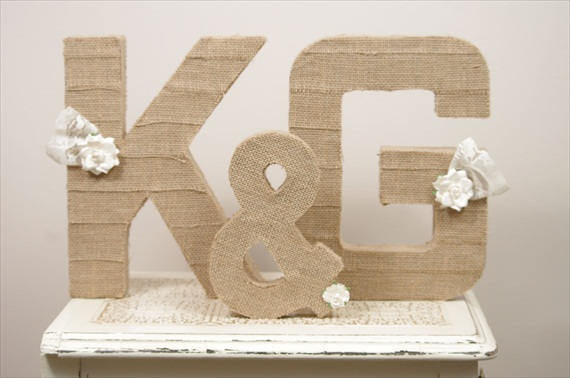 burlap wrapped letters