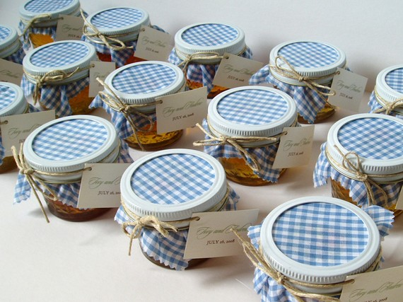 mason jar favors with fabric lid in gingham