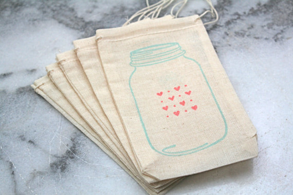 mason jar wedding favor bags muslin drawstring with stamp and hearts