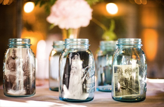 mason jar wedding idea - photos in jars