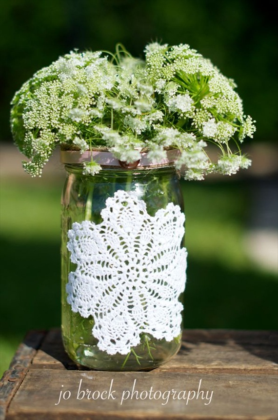 shabby chic wedding - mason jar vase with doily