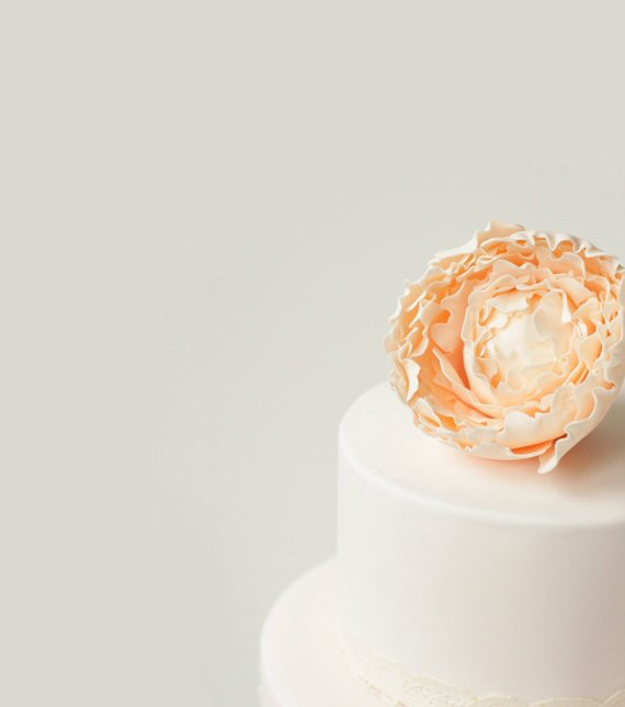 wedding cake peony on top