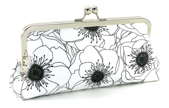 handmade wedding anemone clutch purse