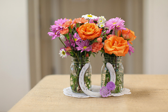 bridal shower horseshoe centerpiece with flowers