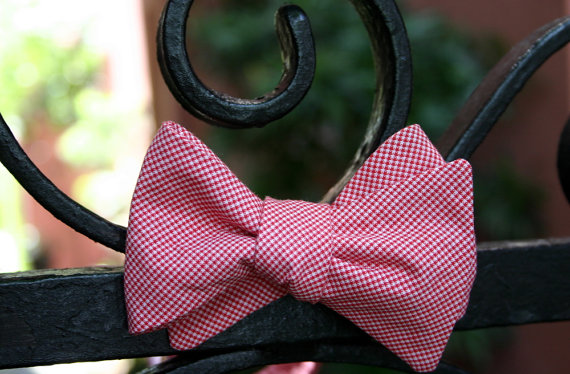 carolina red wedding bow tie