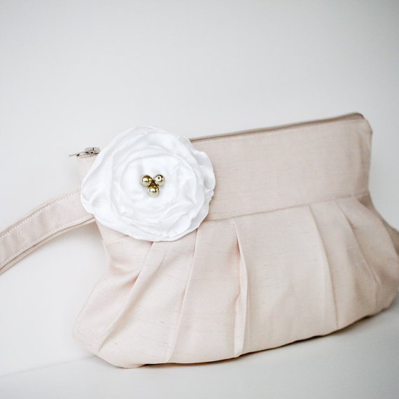 gathered clutch purse in champagne