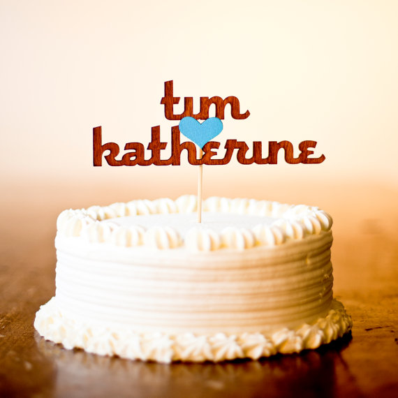 custom names wooden cake topper