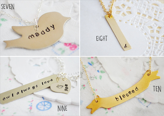 handstamped necklaces