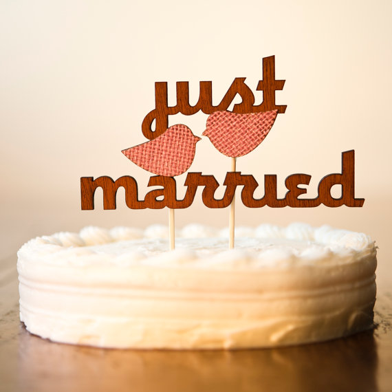 just married wooden cake toppers