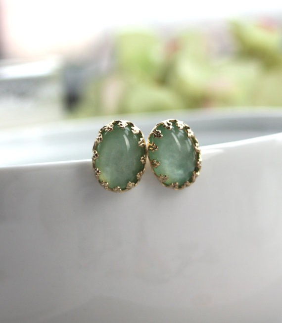 mint green handmade wedding earrings