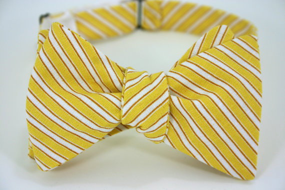 yellow stripe wedding bow tie