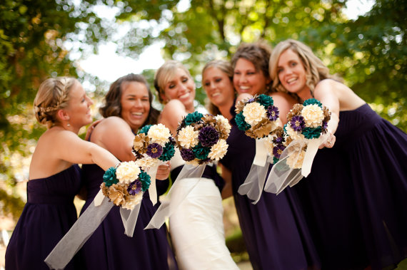 bridesmaids paper flower bouquets