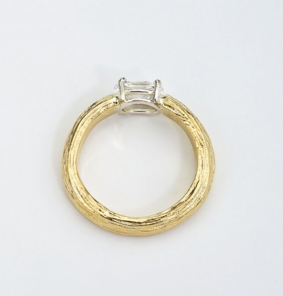 handmade wedding rings - yellow gold solitaire