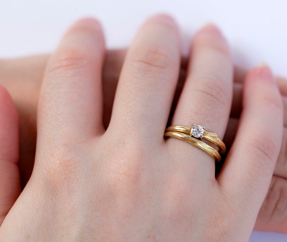 handmade wedding rings - ideal bridal twig ring set