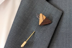 wood lapel pin boutonniere