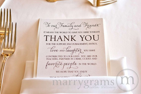 thank you card for dinner seating by marrygrams