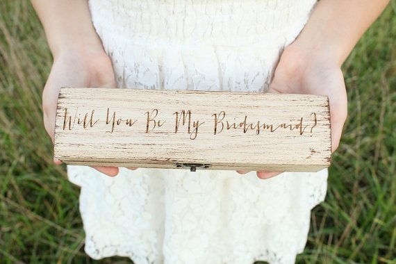Be My Bridesmaid Box by Down In The Boondocks | via Wood Themed Wedding Ideas: http://emmalinebride.com/themes/wood-themed-wedding-ideas/
