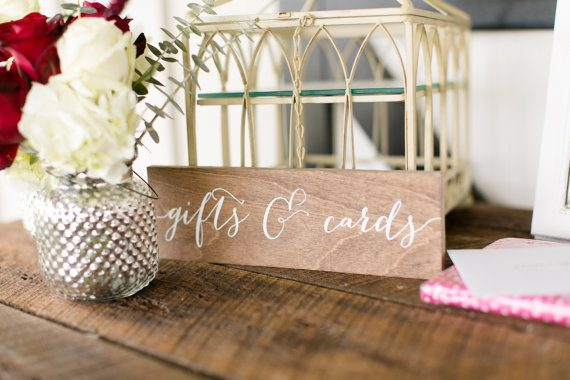 Gifts and Cards Sign by Paper and Pine Co. | via Wood Themed Wedding Ideas: http://emmalinebride.com/themes/wood-themed-wedding-ideas/