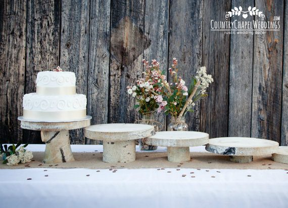 Wood cake stands by Country Chapel | via Wood Themed Wedding Ideas: http://emmalinebride.com/themes/wood-themed-wedding-ideas/