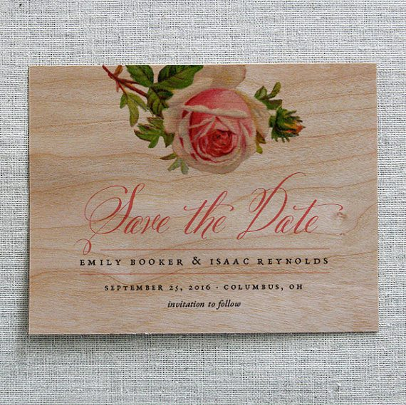 Wood Save the Date by Cheerup Press | via Wood Themed Wedding Ideas: http://emmalinebride.com/themes/wood-themed-wedding-ideas/