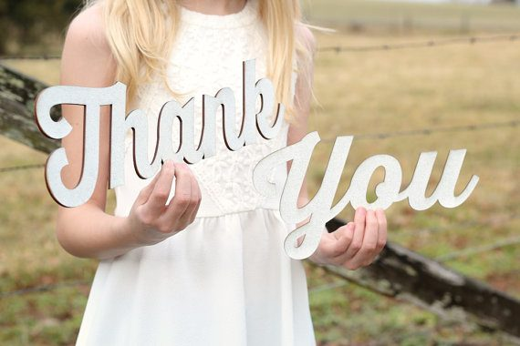 Thank You sign for wedding photo made of wood by Down In The Boondocks | via Wood Themed Wedding Ideas: http://emmalinebride.com/themes/wood-themed-wedding-ideas/