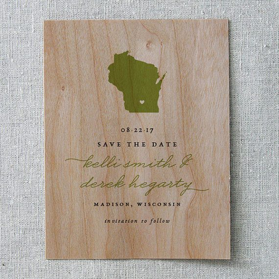 Wood save the date by Cheer Up Press | via Wood Themed Wedding Ideas: http://emmalinebride.com/themes/wood-themed-wedding-ideas/